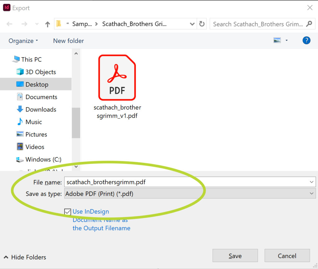 The first Export options panel. Select your file name. The Save as type should be set to Adobe PDF (Print).