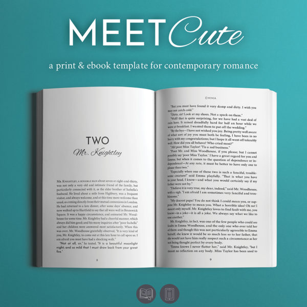 Meet Cute, Self-publishing Print and Ebook Design Template for Contemporary Romance.