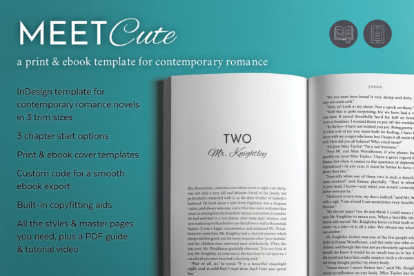 Meet Cute, Self-publishing Print and Ebook Design Template for Contemporary Romance Novels. Available in 3 trim sizes.