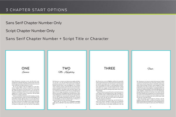 Meet Cute, Self-publishing Book Design Template for Contemporary Romance - three chapter start options.