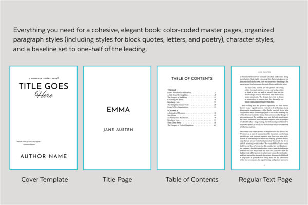 Meet Cute, Self-publishing Book Design Template for Contemporary Romance - Cover template, title page, table of contents, and text page.