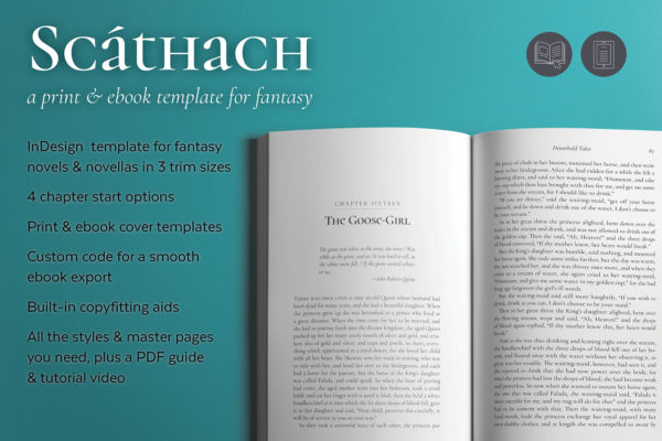 Scáthach, Self-publishing Print and Ebook Design Template for Fantasy Novels and Novellas. Available in 3 trim sizes.