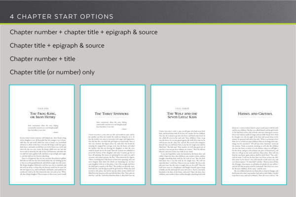 Scáthach, Self-publishing Book Design Template for Fantasy - four chapter start options.