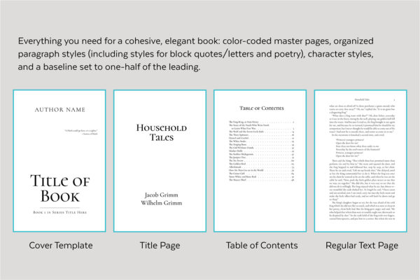 Scáthach, Self-publishing Book Design Template for Fantasy - cover template, title page, table of contents, and text page.