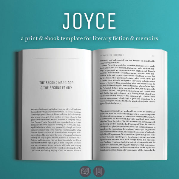 Joyce, Self-publishing Print and Ebook Design Template for Novels and Memoirs.
