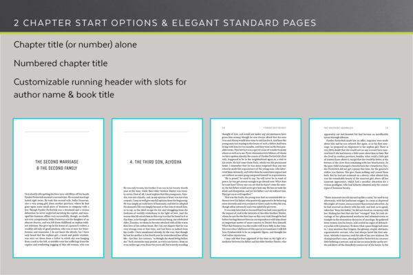 Joyce, Self-publishing Book Design Template for Novels and Memoirs - two chapter start option and elegant standard pages.