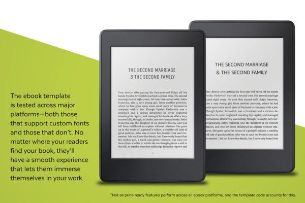 Joyce, Self-publishing Book Design Template for Novels and Memoirs- the ebook template is tested across major platforms.