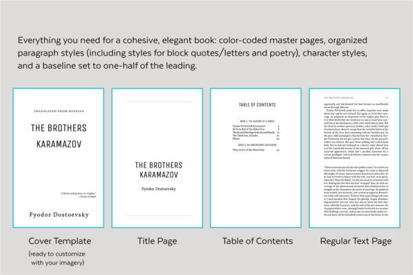 Joyce, Self-publishing Book Design Template for Novels and Memoirs - Cover template, title page, table of contents, and text page.