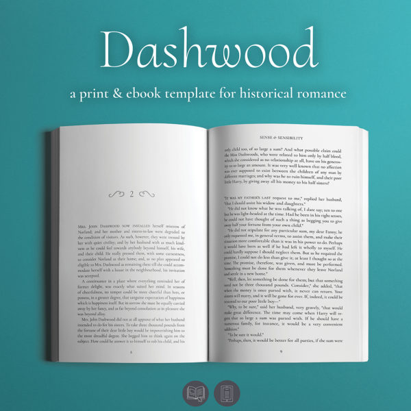 Dashwood, Self-publishing Print and Ebook Design Template for Historical Romance.