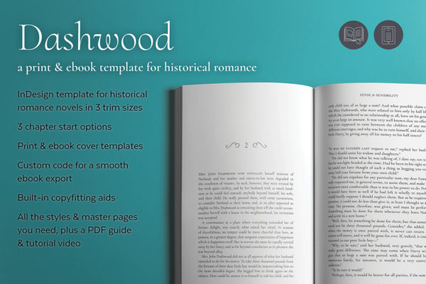 Dashwood, Self-publishing Print and Ebook Design Template for Historical Romance. Available in 3 trim sizes.