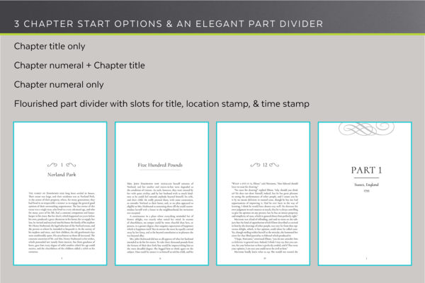 Dashwood, Self-publishing Book Design Template for Historical Romance - three chapter start options and an elegant part divider.