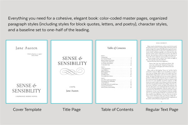 Dashwood, Self-publishing Book Design Template for Historical Romance - Cover Template, title page, table of contents, and text page.