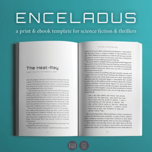 Enceladus, Self-publishing Print and Ebook Design Template for Science Fiction and Thrillers.