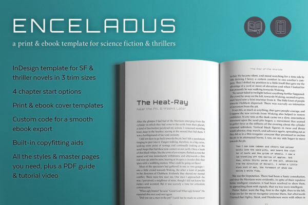 Enceladus, Self-publishing Print and Ebook Design Template for Science Fiction and Thrillers. Available in 3 trim sizes.