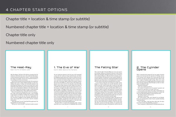 Enceladus, Self-publishing Book Design Template for Science Fiction and Thrillers - four chapter start options.