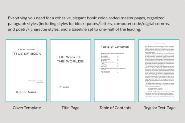 Enceladus, Self-publishing Book Design Template for Science Fiction and Thrillers - Cover template, title page, table of contents, and text page.