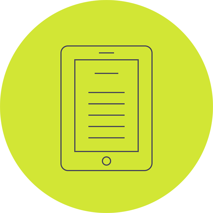 An green icon of an ereader. Export print-ready PDF books and ebooks.