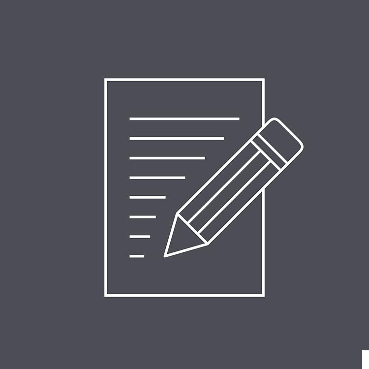 Icon of a pencil and paper. Prepare a manuscript for publication.