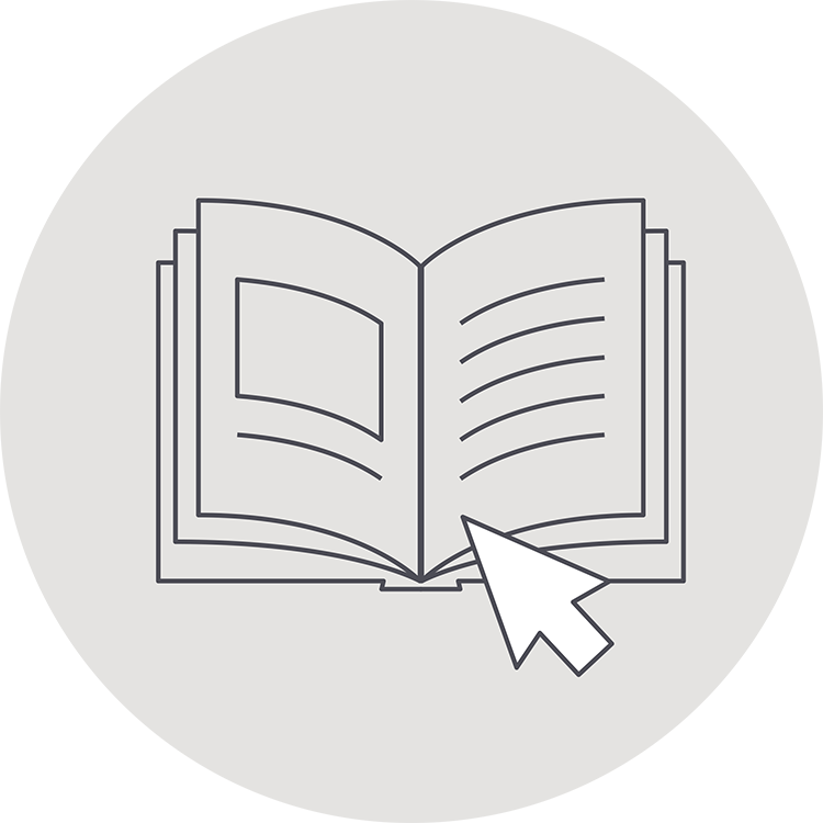 An icon with an open book and a computer cursor. Use a book design template to self-publish.