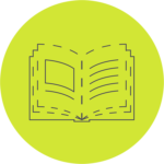 A book design template icon: a dashed-line icon of an open book.